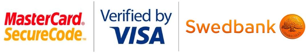 MasterCard , Visa, Swedbank logos